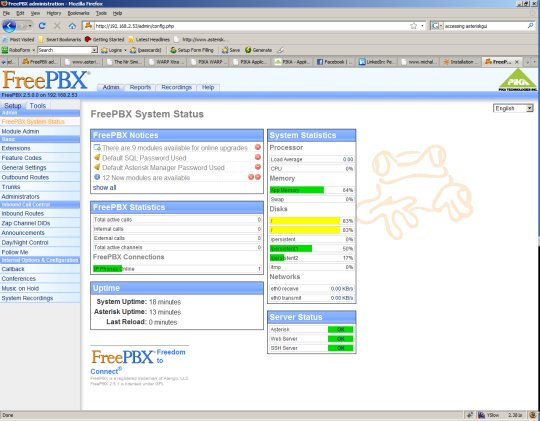 PIKA FreePBX Screen