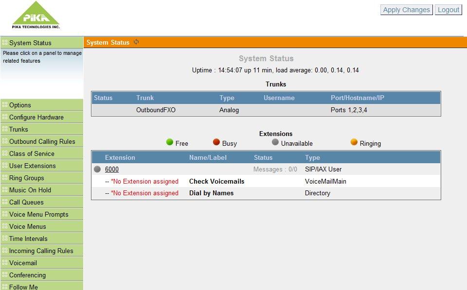 Asterisk GUI 2.0 on PIKA WARP